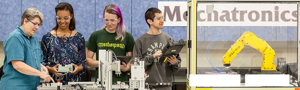 Mechatronics Coordinator M.J. Papa and students in the Mechatronics lab